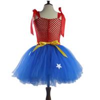 Wholesale wonder woman cosplay costume for sale - 2019 Wonder Woman Costume Princess skirt tutu Girls costumes cosplay Halloween dresses Girl gift Sling dress