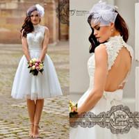 Wholesale crystal bow belt wedding dress for sale - Group buy Plus Size Knee Length High Neck Wedding Dresses Backless Lace Tulle Bow Belt A Line Short Bridal Gowns vestido de noiva BA0604