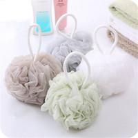 Wholesale net puffs shower resale online - Multicolour Bath Ball Shower Body Bubble Exfoliate Puff Sponge Mesh Net Ball Cleaning Bathroom Accessories Home Supplies C6457