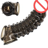 Wholesale realistic cock toy for sale - Group buy Realistic Soft Penis Extender Sleeve With Soft Spikes Cock Enlargement Enhancer Male Reusable Delay Gonobolia Ring Adult Sex Toy For Men