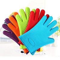 Wholesale hot surface gloves resale online - High Temperature Resistant Kitchen Silicone Single Gloves Anti hot Bake Waterproof Non Slip Microwave Use Silicone Cotton Gloves DH0140 T03