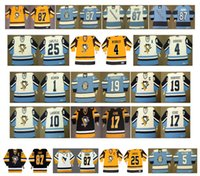 ingrosso jeans 25-Maglie Penguins vintage Pittsburgh 17 RICK KEHOE 1 DENIS HERRON 19 JEAN PRONOVOST 10 PIERRE LAROUCHE 25 CARLYLE 4 Burrows CCM Custom Hockey