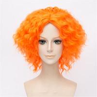 perücke alice großhandel-Alice im Wunderland Mad Hatter gelockt wellig orange Cosplay Perücke