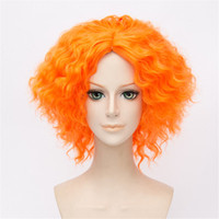 pelucas alicia al por mayor-Alicia en el país de las maravillas Sombrerero loco Rizado ondulado naranja cosplay peluca