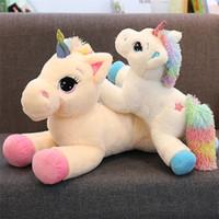 xmas yastık toptan satış-Gökkuşağı Unicorn Beyaz Peluş Doldurulmuş Hayvan 2 Renk Beyaz ve Pembe Süper Yumuşak, Topluca Peluş Unicorn Yastık Kız Doğum Günü Noel hediyeler için