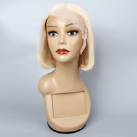 Wholesale 613 human hair wig resale online - KISSHAIR blonde short Bob lace front wig remy Brazilian human hair x6 frontal lace wig inch mid part