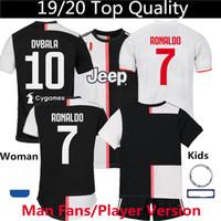shorts para crianças venda por atacado-Juventus camisa de futebol Ronaldo DYBALA Home homem mulher crianças Jersey shorts 19 20 Tailândia Jogador versão 2019 futebol agasalho S XXXL