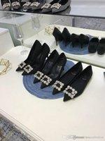 hochzeit blumen high heel großhandel-Klassische High Heels Slik Flower Strass Pumps, Damen Sandalen mit Bejeweled Schnalle für Party, Hochzeit und täglichen Gebrauch.