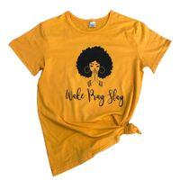 camiseta negra de las muchachas al por mayor-Wake Pray Slay Camiseta Funny Graphic Letter Casual Wake Sloan Tee Black Queen Girl Power Camiseta feminista Grunge cita Tops