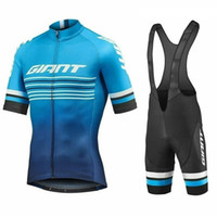 Wholesale bib shorts tops blue resale online - 2019 Men Team GIANT Cycling Jersey Breathable Bicycle Wear Bike tops Bib shorts sets Mountain bike outfits racing Sport Suit Y050504