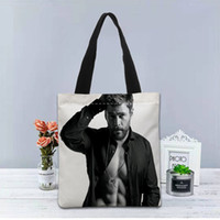 Wholesale custom print canvas tote bags resale online - New Custom Chris Hemsworth printed Handbag canvas tote bags shopping travel Casual Useful Shoulder Bag women
