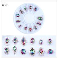encantos de la rueda de aleación al por mayor-1 rueda 3D Charm Alloy Nail Rhinestones Crystal Glass Diamond Gems para uñas Decoración de arte 12pcs / wheel Crystal Stones Nail Art