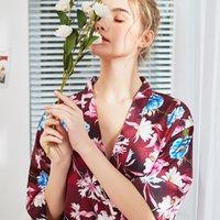 batas yukata al por mayor-2019 nueva señora del cortocircuito del verano del traje de baño del vestido de las mujeres chinas sedoso sueño Kimono Yukata camisón Sleepshirts Pijama Mujer M-XXL