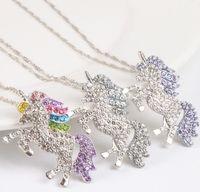 çocuklar için elmas kolye toptan satış-Çocuklar ve kadınlar tasarımcı kolye renkli unicorn elmas kolye kolye çocuk kazak zincir mücevher aksesuarları çocuklar takı A0012