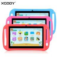 cámara pc portátil al por mayor-XGODY T702 niños de 7 pulgadas Tablet PC Android 8.1 Quad Core 1 GB 16 GB HD doble cámara WiFi tabletas portables para el caso de silicona niños