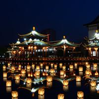 ingrosso luci piante artificiali esterne-Lanterne di carta Galleggiante di acqua leggera Piazza Festival di benedizione cinese Lanterne Galleggianti che desiderano luce luce di candela d'acqua