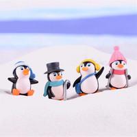 ingrosso gnomi di natale miniatura-4 pz / set artigianato fai da te mini pinguino invernale figurine in miniatura figure di natale per fata giardino gnomi muschio terrari decorazione