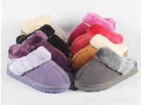 zapatillas de invierno para el hogar al por mayor-Zapatillas de interior de invierno de Australia U Calzado casero cálido de cuero genuino 100% Diapositivas de lujo Zapatos de diseñador G Tamaño EU34-45