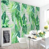murales de tortuga al por mayor-Beibehang Fondo de pantalla personalizado Nordic Simple Tropical Botanical Turtle Leaf Background Pinturas de la pared Mural Decorativo