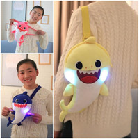 Wholesale mouth light toy resale online - Light Baby Shark Inclined Shoulder Bag Shine Plush Toys Satchel Lovely Big Mouth Fish Package Portable Soft Hot Sale zlb1