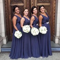 Wholesale wedding dress belts sashes navy resale online - Navy Blue Bridesmaid Dresses A Line V Neck Chiffon With Belt Pleats Floor Length Pleats Long Formal Maid of Honor Gowns Wedding Guest Dress