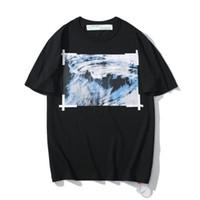 pintura al óleo de la onda al por mayor-19SS OFF manga corta de aceite de onda pintura de impresión OW hombres blancos y mujeres sueltan los pares de la camiseta M-2XL