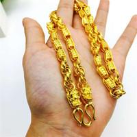 bouddha or collier hommes achat en gros de-Double chaîne de marque Buddha de la Thaïlande reliant collier de robinet plaqué or Vietnam Shajin collier