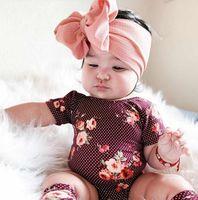 bebekler için kafa bandı yayları toptan satış-Fit Tüm Bebek Büyük Yay Kızlar Kafa 7 Inç Büyük Ilmek Headwrap Çocuklar Yay için Saç Pamuk Geniş Kafa Türban Bebek Yenidoğan Bantlar