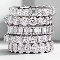 ingrosso anelli di nozze eternità donne-Choucong Vintage Fashion Jewelry Reale 925 Sterling Silver Princess White Topaz diamante CZ Eternity donne Wedding Engagement Band Ring regalo
