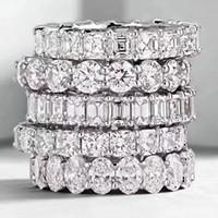 kadınlar için klasik elmas yüzükler toptan satış-Choucong Vintage Moda Takı Gerçek 925 Ayar Gümüş Prenses Beyaz Topaz CZ Elmas Eternity Kadınlar Düğün Nişan Band Yüzük Hediye