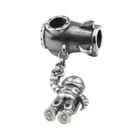 granos europeos del espaciador del encanto europeo al por mayor-Astronauta Charm Antique 925 Sterling Silver Beads Fit European Troll Pulsera Collar Joyas