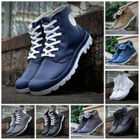Wholesale white cow plastic for sale - Group buy Cheaper New Original PALLADIUM Women Medium pampa pufdie lite wp high cut leather outerdoor boots men women working boot size