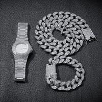 bisutería de oro para hombre al por mayor-Cadenas de Hip Hop Bling hombres joyería heló hacia fuera el diamante Miami cadena cubana Rose reloj de oro de la plata pulsera del collar