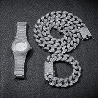 Men Iced Out Diamond Cuban Link Chain Rose Gold Silver Watch Necklace Bracelet Set Hip Hop Bling Chains Jewelry