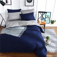 Wholesale purple romantic bedding resale online - Home Textile solid satin pure bedding set King queen size bed set duvet cover sheet flat sheet bed romantic Style
