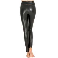 5f72948bdef Women Hot Sexy Black Wet Look Faux Leather Leggings Slim Shiny Pants Plus  size S M L XL XXL