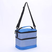 Wholesale lunch bags for sale - Group buy New striped double layer insulation bag portable lunch pack preservation ice pack insulation box double layer Satchel