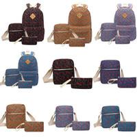 um saco de escola pedaço venda por atacado-Mochilas de viagem de lona de lona 9 Design carta impresso saco de um ombro Mochilas de alta capacidade de Zipper três peças conjunto de volta à escola