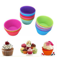 Wholesale cupcake online - 7cm Silica gel Liners baking mold silicone candy color muffin cup baking cups cake cups cupcake MMA1425