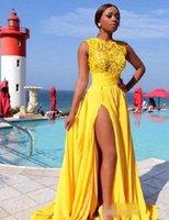 vestido de noche de encaje de gasa amarilla al por mayor-Modest Yellow Chiffon Prom Dresses Sin mangas Side Slit Split Sweep Train 2019 Lace Applique Vestido de noche Fiesta formal Vestir