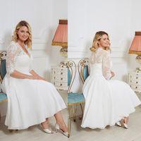 Wholesale wedding dresses sleeves plus size purple resale online - 2020 New Arrival Wedding Gowns Puls Size A Line V Neck Zipper Tulle Lace Wedding Dresses Ankle Length Satin Applique Bridal Gowns