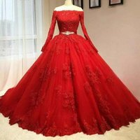Wholesale black green quinceanera dresses for sale - Group buy Red Lace Ball Gown Quinceanera Dresses Off Shoulder Long Sleeves Tulle Applique Beaded Sash Corset Sweet Dresses BC0807
