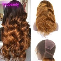 Wholesale ombre human hair lace wigs for sale - Group buy Malaysian Human Hair Full Lace Wigs B Ombre Color Body Wave B Virgin Hair Lace Wigs inch