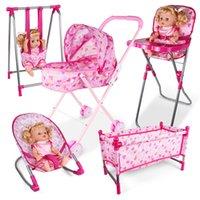 oyuncak mobilyalar toptan satış-Simülasyon mobilya oyuncak bebek evi Aksesuarları Sandalyeler Sandalye Bebek oyna Yemek Bed Salıncak Sallanan Evi Oyna Toy davran
