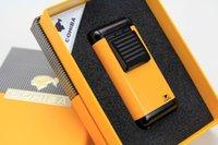 antorcha cohiba llama al por mayor-Nueva Llegada COHIBA Multifuncional Llama Encendedor 3 Antorcha a prueba de viento Recargable Butano Gas Cigarro encendedor tres colores Encendedor W / caja de regalo