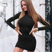 ingrosso cadono abbigliamento vintage-Autunno vestito solido di colore Dolcevita Mini donne sexy inverno tenere in caldo a maniche lunghe Slim Vestito aderente Vestidos Stilisti
