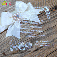 Wholesale wedding cards acrylic resale online - 10pcs wedding favor laser cut acrylic wedding invitation card colorful printing cheap price chinese invitations with box