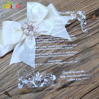 invitaciones de boda cajas chinas al por mayor-laser 10pcs favor de la boda tarjeta de invitación de la boda de acrílico cortar la impresión colorida precio barato invitaciones chino con la caja