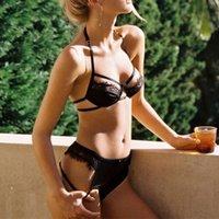 ingrosso trimmer per le ragazze-Lyjenny sexy Strappy benda pizzo Halter reggiseno e perizoma Bikini Lingerie Set per la ragazza signora Women Underwear