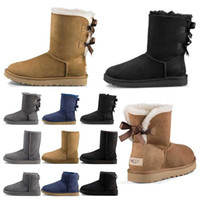 Wholesale cream ankle boots for sale - Group buy Top quality designer Australia women classic snow boots ankle short bow fur boot for winter black Chestnut fashion women shoes size